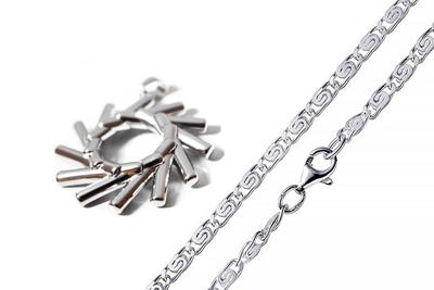 Elementewirbel Anhänger + Herren diamantierte S-Panzerkette 925 Silber | Ein Schmuckstück für die Seele